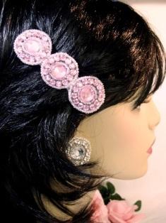 "HB0379  Pink Rhinestone Hair Bow 3.75"""