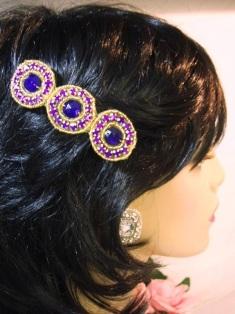 "HB0379  Purple Jewel Gold Beaded Rhinestone Hair Bow 3.75"""