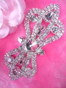 HC1 Bridal Crystal Rhinestone Applique Metal Back Embellishment 4.5""