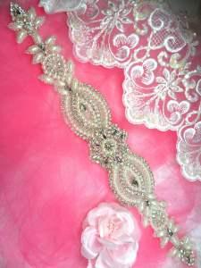"""HC14 Applique Bridal Sash Motif Crystal Rhinestone w/ Pearls 14.75"""""""