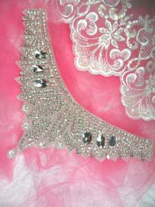 "HC18 Applique Silver Beaded Crystal Rhinestone Motif Collar Yoke 11"""