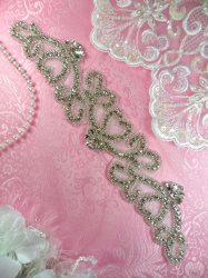 HC21 Rhinestone Applique Silver Beaded Crystal Bridal Sash Hearts 11""