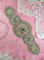 HC22 Rhinestone Applique Silver Beaded Crystal Pearl Bridal Applique 7.5""