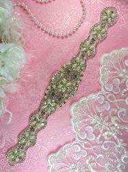 """HC23 Rhinestone Bridal Sash Applique Silver Crystal Pearl Motif 6.25"""""""