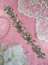 HC25 Rhinestone Crystal Applique Silver Setting Bridal Motif Patch 8""