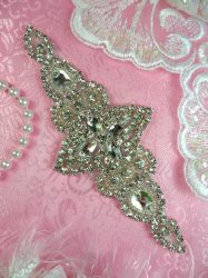 HC26 Bridal Motif Rhinestone Applique Silver Settings w/ Crystal Stones 6""