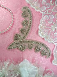HC27 Rhinestone Yoke Applique Silver Crystal Bridal Motif 7""