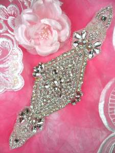 """HC6 Bridal Crystal Rhinestone Sash Applique 10"""""""