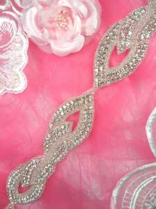 HC9 Trim Rhinestone Crystal Clear Silver Beaded