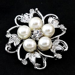 GB207 Bridal Rhinestone Brooch Pin Silver Crystal Pearl Glass 1.5""