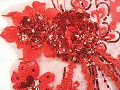 """Embroidered 3D Applique Red Floral Sequin Patch Rhinestone Accented 14"""" (DH75)"""