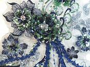 """Embroidered 3D Applique Navy Green Floral Sequin Patch Rhinestone Accented 14"""" (DH75)"""