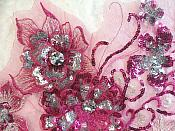 "Embroidered 3D Applique Fuchsia Silver Floral Sequin Patch Rhinestone Accented 14"" (DH75)"