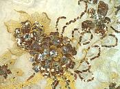 """Embroidered 3D Applique Bronze Gold Floral Sequin Patch Rhinestone Accented 14"""" (DH75)"""