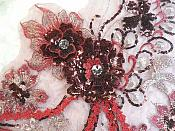 """Embroidered 3D Applique Burgundy Wine Floral Sequin Patch Rhinestone Accented 14"""" (DH75)"""