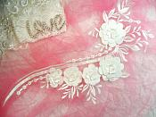 "Embroidered 3D Applique White Floral Sequin Patch 16"" (DH74)"