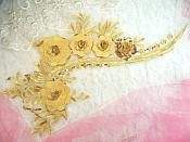 "Embroidered 3D Applique Gold Floral Sequin Patch 16"" (DH74)"