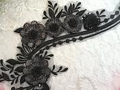 "Embroidered 3D Applique Black Silver Floral Sequin Patch 16"" (DH74)"