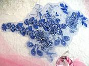 "Embroidered 3D Applique Blue Silver  Floral Sequin Patch Rhinestone Accented 16"" (DH73)"