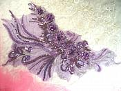 "Embroidered 3D Applique Purple Floral Sequin Patch Rhinestone Accented 20"" (DH71)"