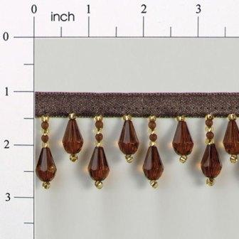 E1670 Brown & Gold Teardrop Beaded Fringe Sewing Trim 1""