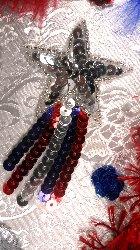 "JB103 Star  Applique Shooting Patriotic Sequin Silver Beaded 3.5"""