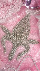 JB104 Crystal Rhinestone Applique Silver Beaded 7""