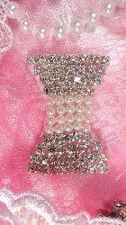 """JB106 Crystal Rhinestone Applique Bow  With Pearls 2"""""""