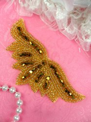 JB107 Beaded Applique Gold Motif DIY Hair Accessory 4""