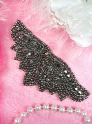 JB107 Gunmetal Beaded Designer Applique Motif Patch 4""