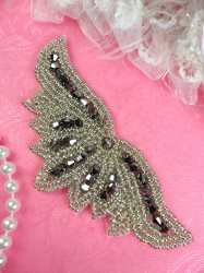 JB107 Beaded Applique Silver Gunmetal Motif DIY Hair Accessory 4""