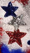 "JB112 Applique Star Patriotic Triple Beaded Sequin Sewing Motif  5.25"""