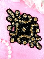 JB115 Glass Rhinestone Applique Black Champagne Beaded Motif 4""