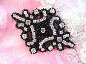 "Glass Crystal Rhinestone Applique Black Beaded Iron On Embellishing Patch High Quality 4"" (JB115)"