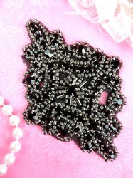 JB115 Glass Rhinestone Applique Black Pewter Beaded Motif 4""
