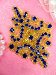 JB115 Glass Rhinestone Applique Blue Gold Beaded Motif 4""