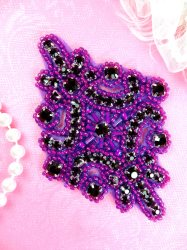 JB115 Glass Rhinestone Applique Dark Purple Beaded Motif 4""