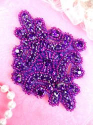 JB115 Glass Rhinestone Applique Purple Beaded Motif 4""