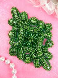 JB115 Glass Rhinestone Applique Green Beaded Motif 4""