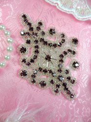 JB115 Rhinestone Applique Light Plum Silver Beaded Motif 4""