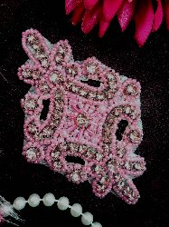 JB115 Applique Mauve Pink Rhinestone Light Pink Beaded 4""