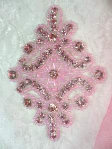 JB115 Applique Mauve Pink Rhinestone Pink Beaded  4""