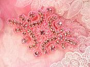 "Glass Rhinestone Applique Pink Beaded Iron On Embellishing Patch High Quality 4"" (JB115)"