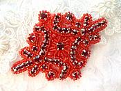 "Glass Rhinestone Applique Deep Red Beaded Iron On Embellishing Patch High Quality 4"" (JB115)"