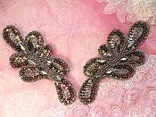 "Appliques Sequin Beaded Mirror Pair Smoke Jeweled Iron On 5.25"" (JB120X)"