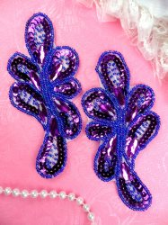 JB120 Jeweled Sequin Appliques Purple Beaded Mirror Pair 5.25""