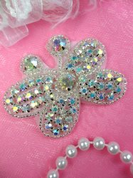 JB121 Rhinestone Butterfly Applique Crystal Silver Beaded Patch 2.5""