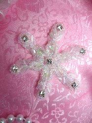 "JB125 Beaded Crystal Rhinestone Snowflake Crystal AB Sequin Applique 2.5"""