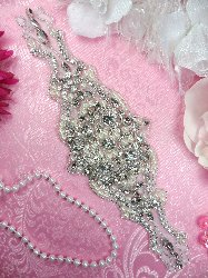 JB133 Pearl Applique Silver Beaded Crystal Rhinestone 10""
