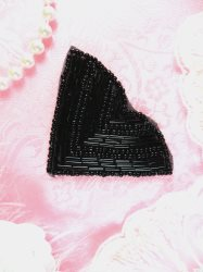 JB138 Beaded Applique Black V Shape Patch 2-7/8""